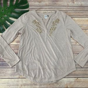 Akemi Kin cream and gold beaded trim popover top